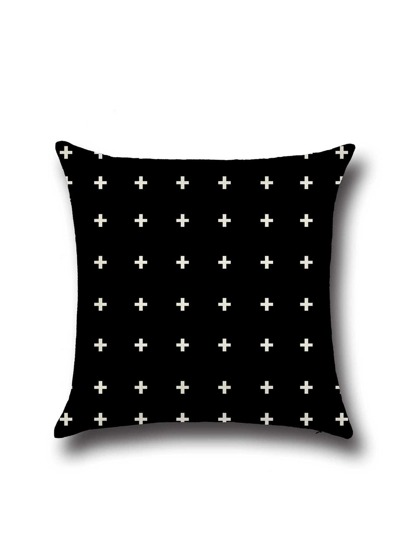 Black Cross Print Linen Square Cushion Cover