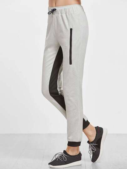 Heather Grey Contrast Panel Drawstring Sweatpants