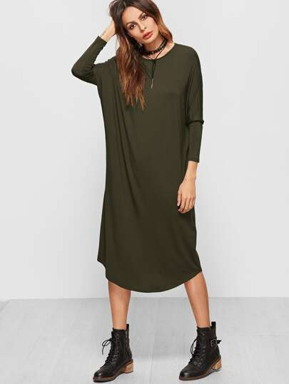 Olive Green Dolman Sleeve Curved Hem Tee Dress