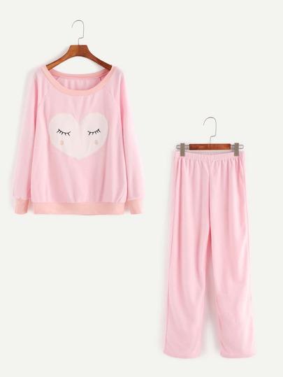 Sudadera de manga raglán con bordado con pantalones - rosa