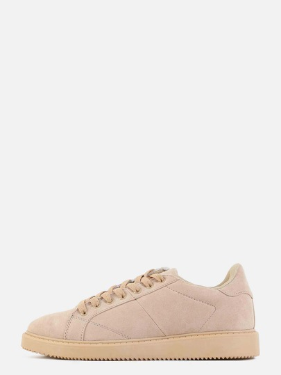 Neutral Faux Suede Sneakers NUDE