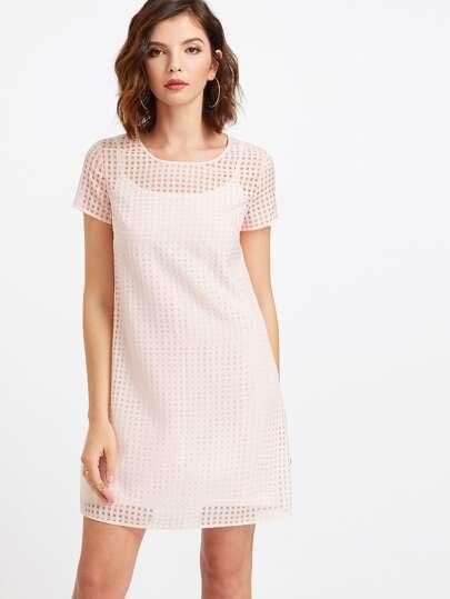 Vestido en rejilla 2 en 1 - rosa