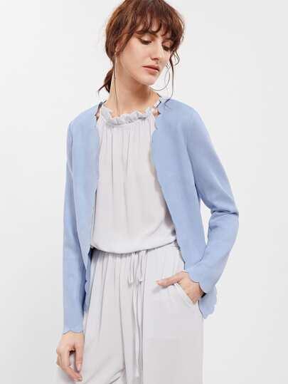 Blazer en suédé ouvert avec poche et zip - bleu