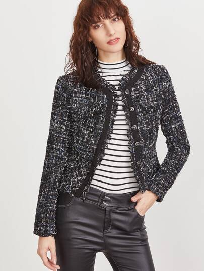 Black Frayed Trim Single Breasted Tweed Blazer