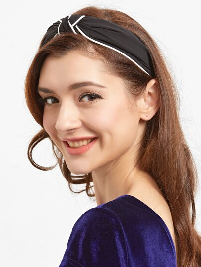 Contrast Trim Black Kontted Headbands
