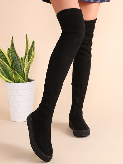 Black Round Toe Zipper Over The Knee Boots