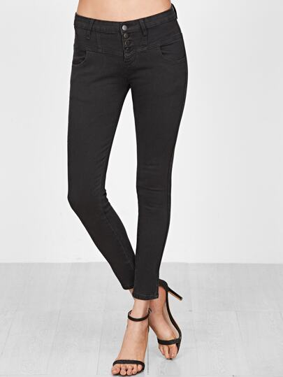 Black Single Breasted Skinny Jeans