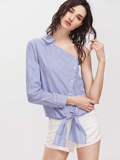 Blue Striped One Shoulder Asymmetric Button Up Tie Front Blouse