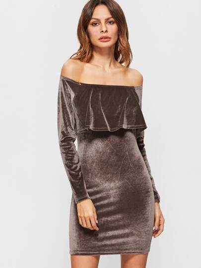 Coffee Off The Shoulder Ruffle Velvet Bodycon Dress