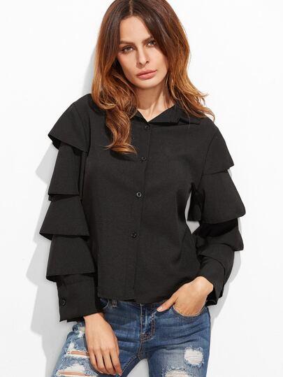 Black Ruffle Tiered Sleeve Shirt