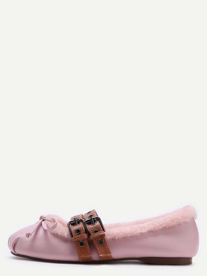 Chaussons de ballet en faux cuir à bretrelles tricoté doublées de fourrure -rose