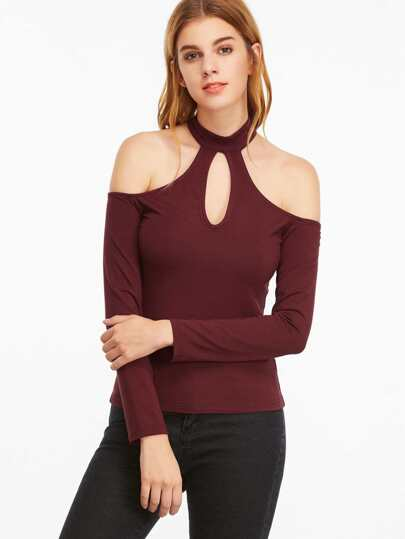 Burgundy Keyhole Halter Neck Cold Shoulder T-shirt