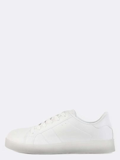Light Up Sole Low Cut Sneakers WHITE