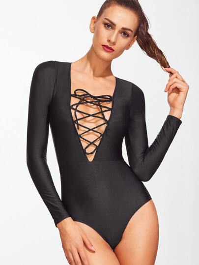 Black Lace Up V Neck One-Piece Swimwear