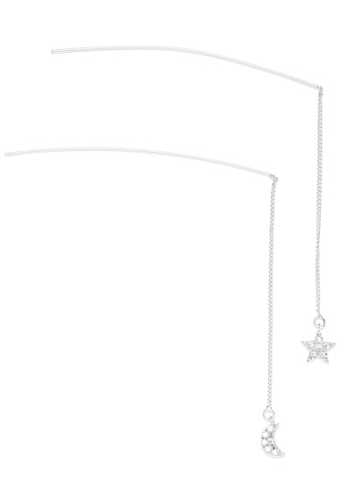 Silver Tone Star and Moon Pendant Hair Pin