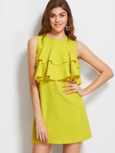 Yellow Layered Ruffle Trim Buttoned Keyhole Back Sleeveless Dress
