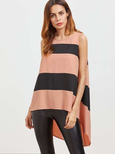 Contrast Wide Striped Keyhole Back High Low Sleeveless Top