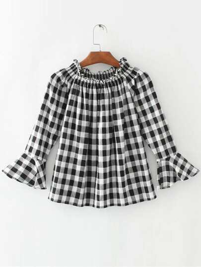 Black And White Plaid Ruffle Detail Bell Sleeve Blouse