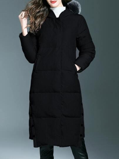 Schwarze Reißverschlusstaschen Mit Kapuze Langer Mantel