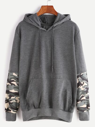 Dark Grey Hooded Contrast Camo Print Sleeve Pocket Sweatshirt