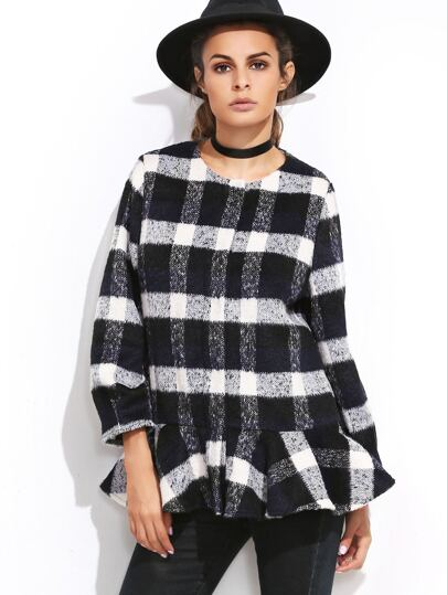 Cappotto Con Orlo Increspato Con Bottone Nascosto Plaid - Marino