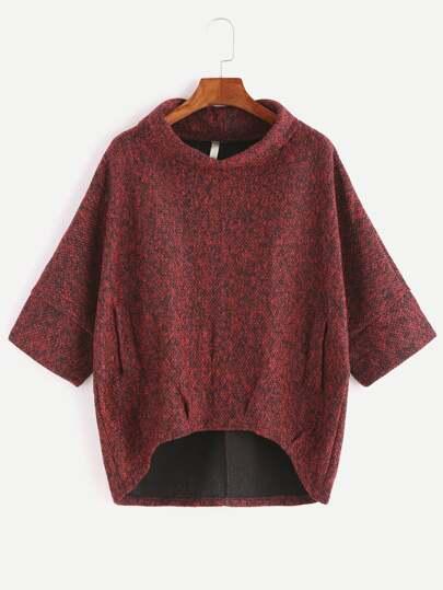 Burgundy Turtleneck Dip Hem Pockets Sweatshirt