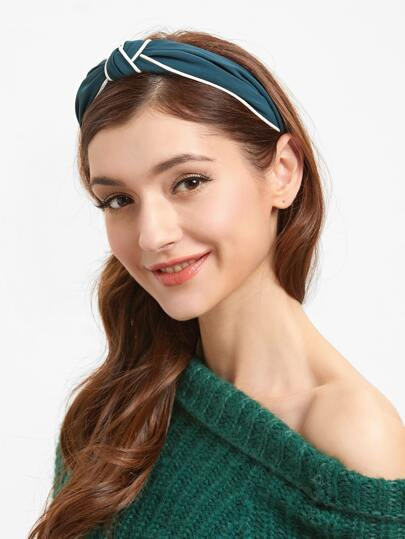 Dark Green Contrast Trim Knotted Headband