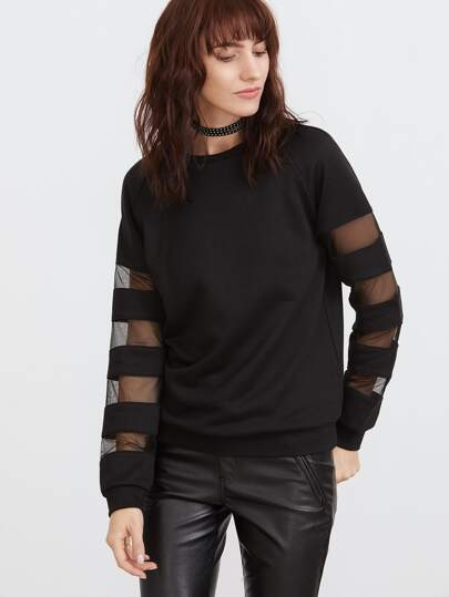 Black Striped Mesh Raglan Sleeve Sweatshirt