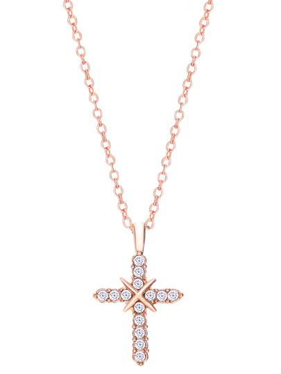 Rose Gold Tone Crystal Inlaid Cross Pendant Necklace