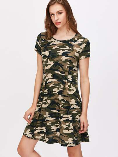 Olive Green Camo Print Pleated Front Tee Dress
