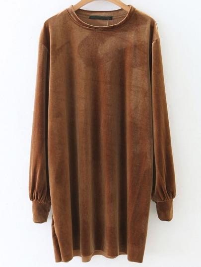 Camel Long Sleeve Shift Velvet Dress