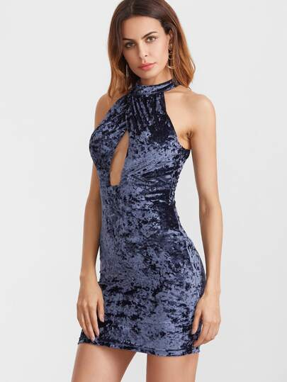 Navy Crossover Front Double Keyhole Halter Neck Velvet Dress