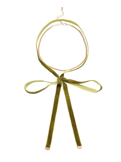 Olive Green Velvet Knotted Choker With Golden Twist Chain
