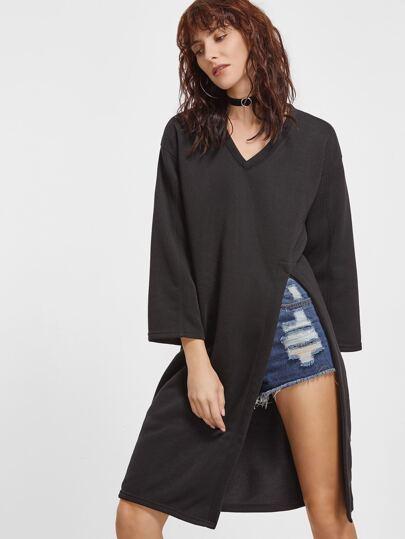 Black V Neck Drop Shoulder High Slit Long T-shirt