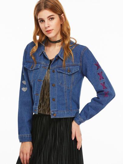 Dark Blue Letter Print Embroidered Denim Jacket