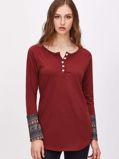 Burgundy Contrast Tribal Print Cuff Button Front T-shirt