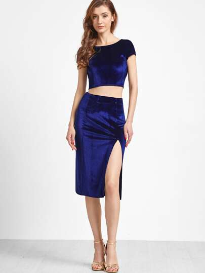Royal Blue Twist V Back Velvet Top With Split Pencil Skirt