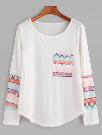 White Geometric Print Curved Hem T-shirt With Pocket
