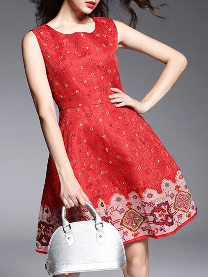Rotes Jacquard-besticktes A-Linie Kleid
