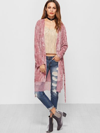Pink Self Belt Lace Trim Crushed Velvet Coat