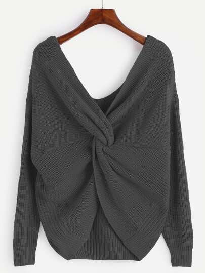 Dark Grey V Neck Knotted Sweater