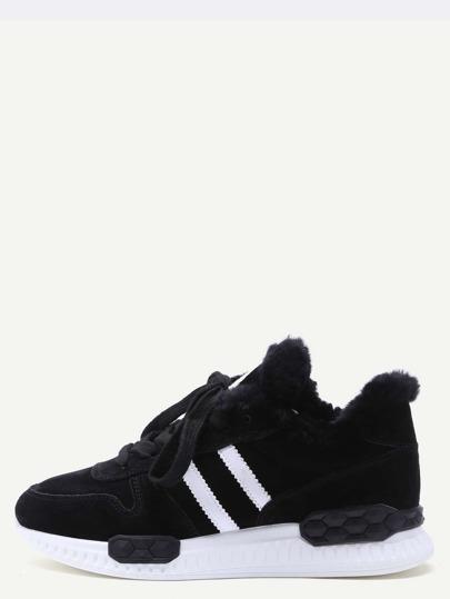 Chaussures à rayure détail en faux cuir élané -noir