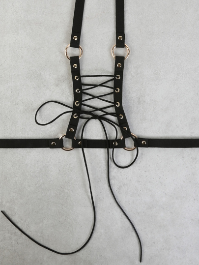 Lace Up Body Harness BLACK