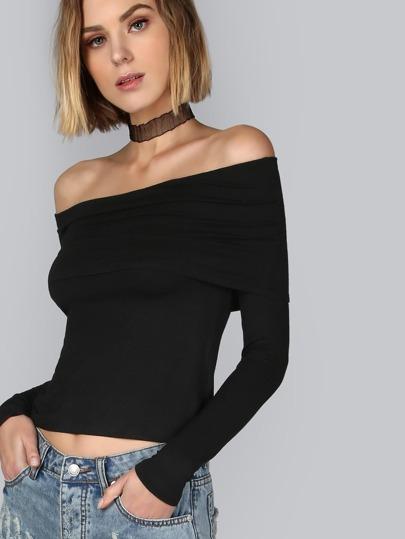 T-Shirt Spalle Scoperte Fold - Nero