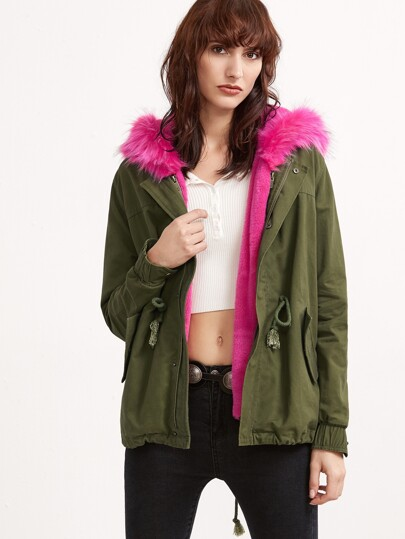 Olive Green Utility Jacket With Faux Fur Trim Detachable Vest