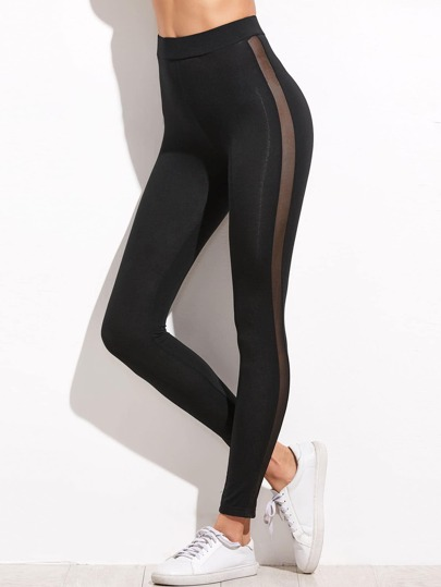 Mesh Panel Side High Waist Leggings