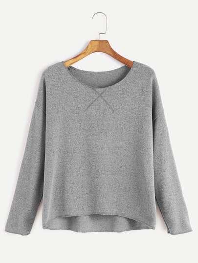 Grey Drop Shoulder Dip Hem T-shirt
