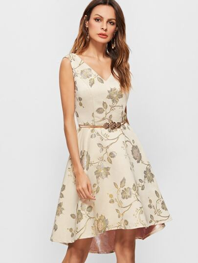 Apricot Flower Embroidery Double V Neck Sleeveless Dress With Metal Belt