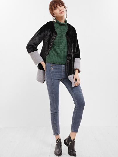 Color Block Collarless Zip Up Faux Fur Coat