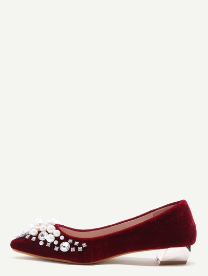 Zapatos de terciopelo en punta con perlas - burdeos